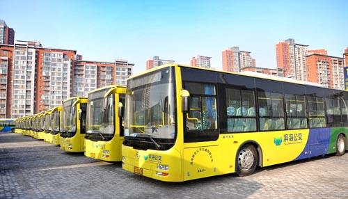 金旅46台混合动力新能源客车整装待发高清图片