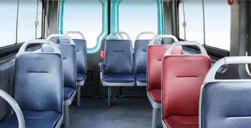 公共汽车内部显示屏-格H6V公交版车内装配公交座椅-海格H6V公交版点 靓 中短途客运市场高清图片